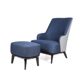 bespoke chair with footstool